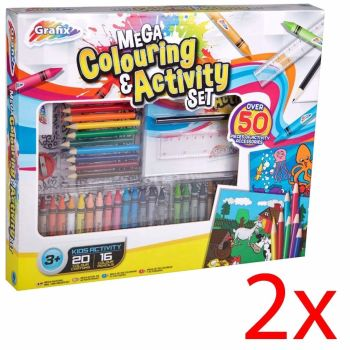 SET OF 2 GRAFIX MEGA COLOURING ACTIVITY SET