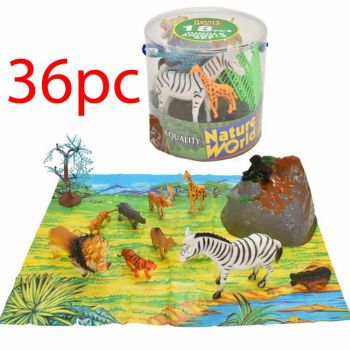36PC LARGE TUB JUNGLE WILD ANIMALS