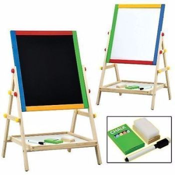 2 IN 1 CHILDREN KIDS COLOUR WOODEN BLACKBOARD EASEL
