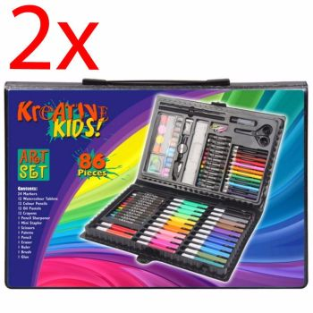 2 X CHILDRENS 86PC CRAFT ART ARTISTS SET BOX