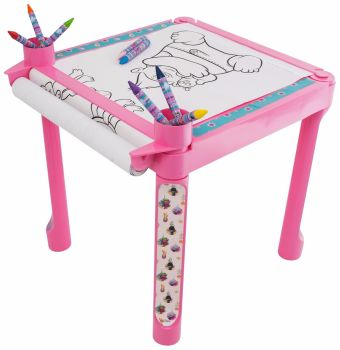 TROLLS COLOURING TABLE 5M ROLL CRAYONS CREATIVE ART DESK