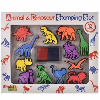 SET OF 12 ANIMAL DINOSAUR STAMPS
