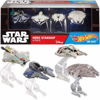HOT WHEELS STAR WARS HERO STARSHIP 4 PACK DIE CAST COLLECTIBLE VEHICLE SET