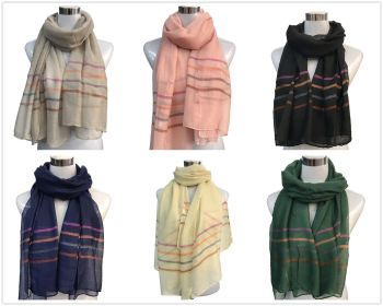 Single Pure Colour With Line Shawl Scarf