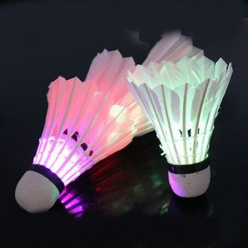 4 Pcs Dark Night Colorful LED Feather Shuttlecocks
