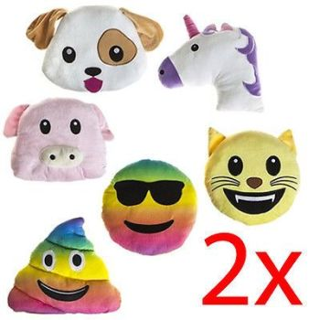 SET OF 2 EMOJI CUSHION 25CM FUN GIFT