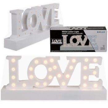 30CM WHITE LIGHT UP LOVE 28 LED SIGN PLAQUE