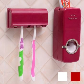 AUTO- Toothpaste Dispenser +5 Toothbrush Holder Set Wall Mount-RED