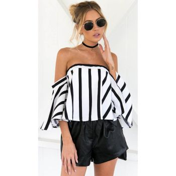 Striped Casual Off Shoulder Crop Top Shirt Blouse