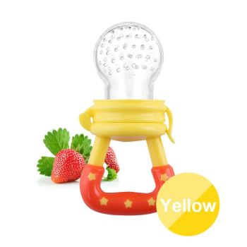 Baby-Fresh-Food-Fruit-Milk-Shake-Feeder-Safety-Silicone-YELLOW-ONLY
