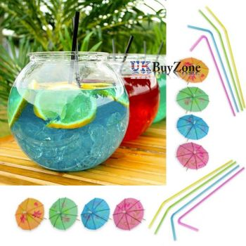 Set of 2 Plastic Cocktail Fish Bowl Drinking Jars Flexi Straws & Umbrellas