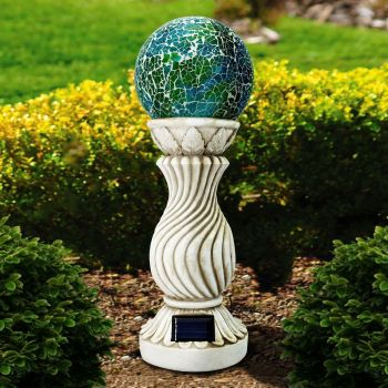 Outdoor Garden Solar Power Mosaic Ball On Column