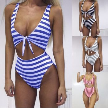Swimming Costume Striped Swimsuit-RED
