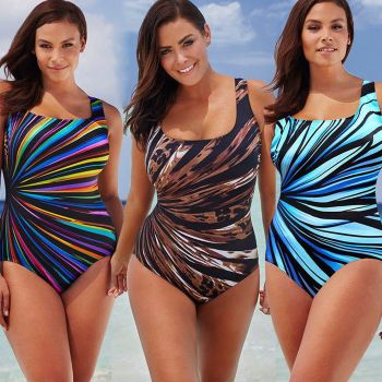 Stripped Plus Size Padded Swimsuit-LEOPARD