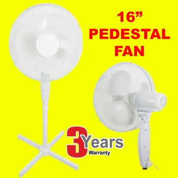 WHITE-16-PEDESTAL-OSCILLATING-STAND-STANDING-COOLING-FAN