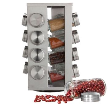 Stainless Steel 16 Jar Revolving Spice Rack Stand Carousel Rotating Glass