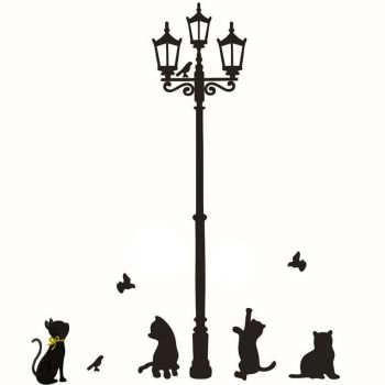 Cats Street Lamp Lights Stickers For Wall Decal