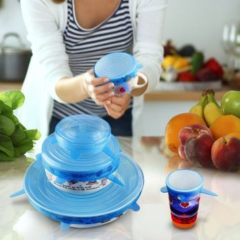 INSTA LIDS (6PCS) - SILICONE BOWL COVER LIDS FAST AS SEEN ON TV -STRETCH SUCTION