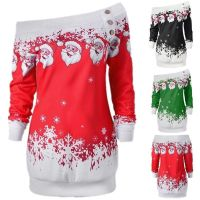 Christmas Jumper Dress Xmas Santa Claus Long Sleeve Tops