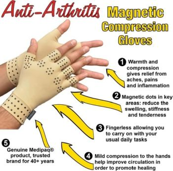 1 Pair Magnetic Therapy Fingerless Gloves Arthritis