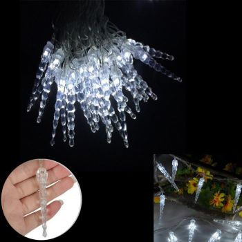 10 Metre LED Icicle Lights Inside Outside Christmas Garden Fairy Frozen Icicles