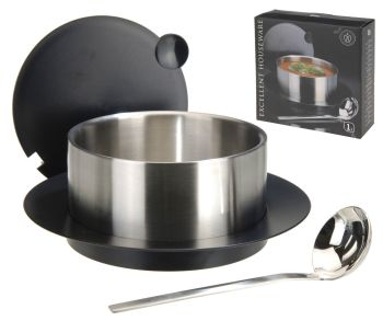 1L Stainless Steel Soup Tureen Serving Dish Insulated Casserole Dish with Ladle