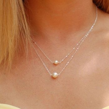 2 x Double Layers imitation Pearls Ball Droplets Pendants Necklace