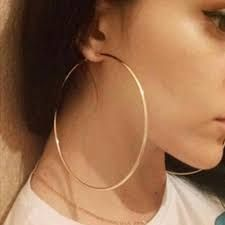 2 x Hoop Earrings Brincos Exaggerated Gold/Silver