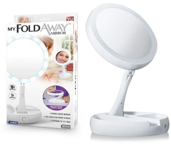 Portable Folding Makeup Mirror 1X/10X Magnifying LED Light Up Double Side Mirror