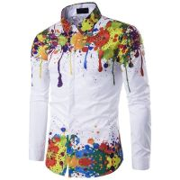 Men Shirt Long Sleeve 3d Splash Ink Print