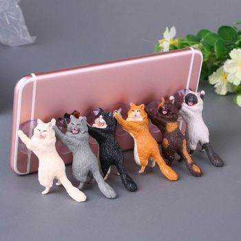2X-Cute Cat Support Resin Mobile Phone Holder Stand Sucker