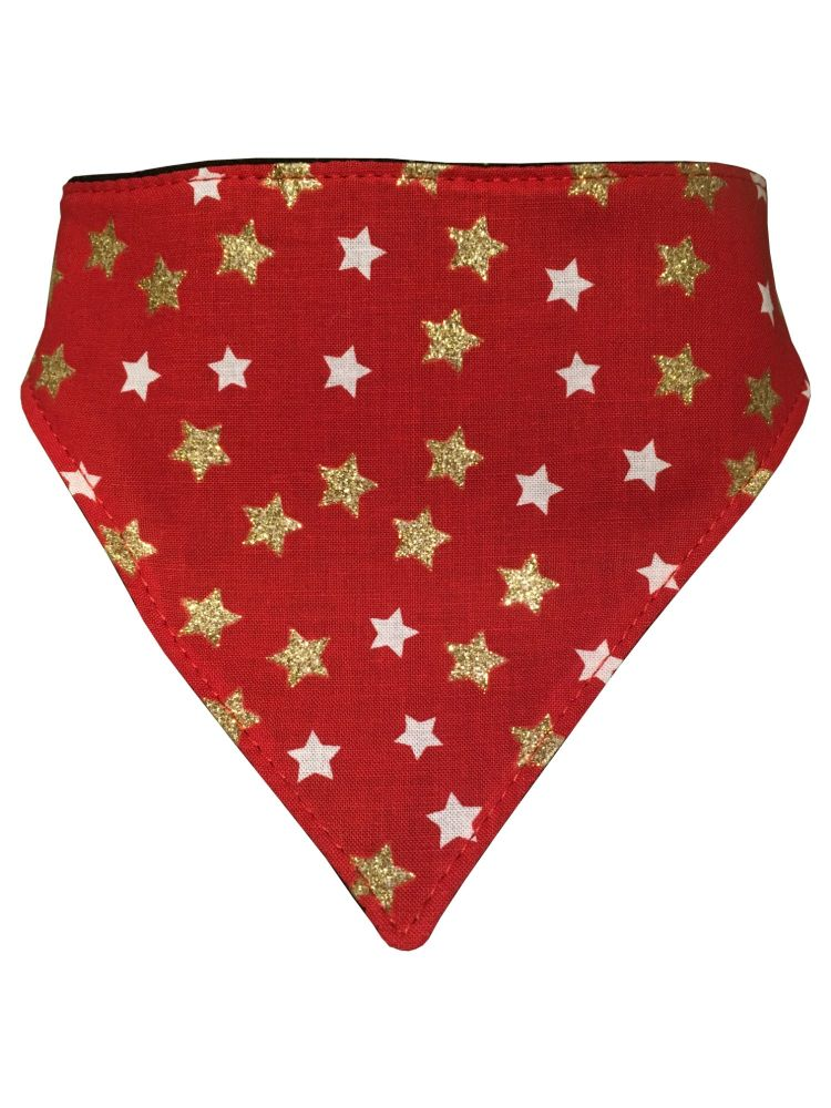 Red and Gold Stars Dog Bandana