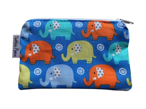 Blue & Orange Elephants Mini Purse