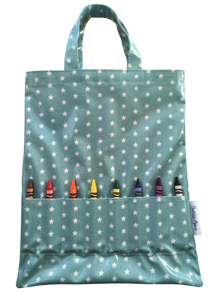 Teal Stars Crayon Bag