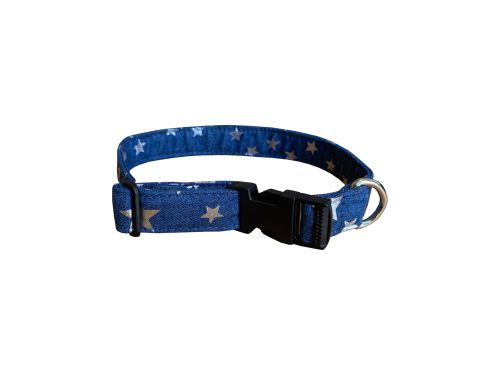 Denim with Silver Stars Dog Collar