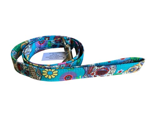 Turquoise Sugar Skulls Dog Lead