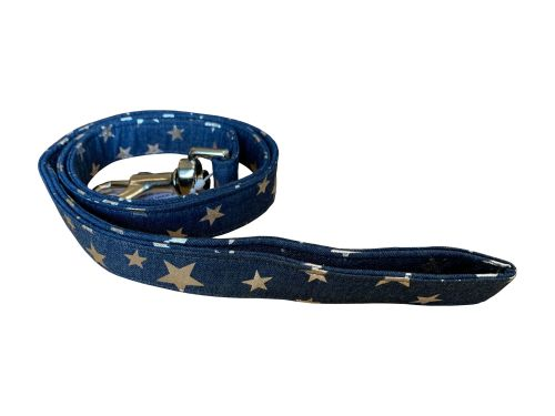 Denim with Silver Stars Dog Lead