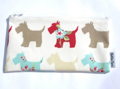 Scottie Dog Make-up Bag in Brown & Teal