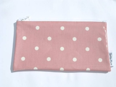Polka Dot Make-up Bag in Pale Pink