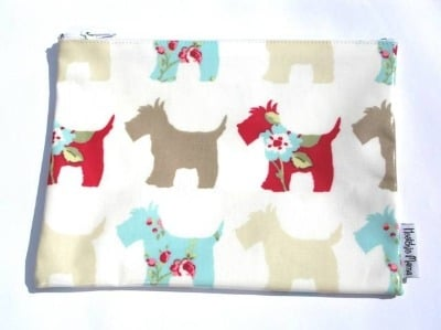 Scottie Dog Washbag in Brown & Teal