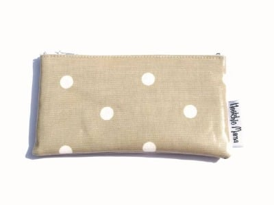 Polka Dot Purse Taupe Brown