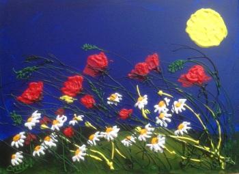 Poppies with Lemon Yellow Sun