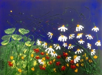 Daisy Field, mounted and framed