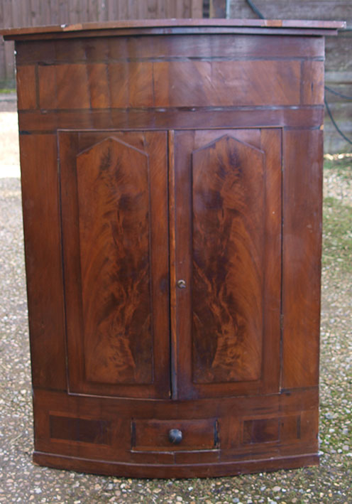 Georgian Mahogany Bow Fronted Corner Cupboard