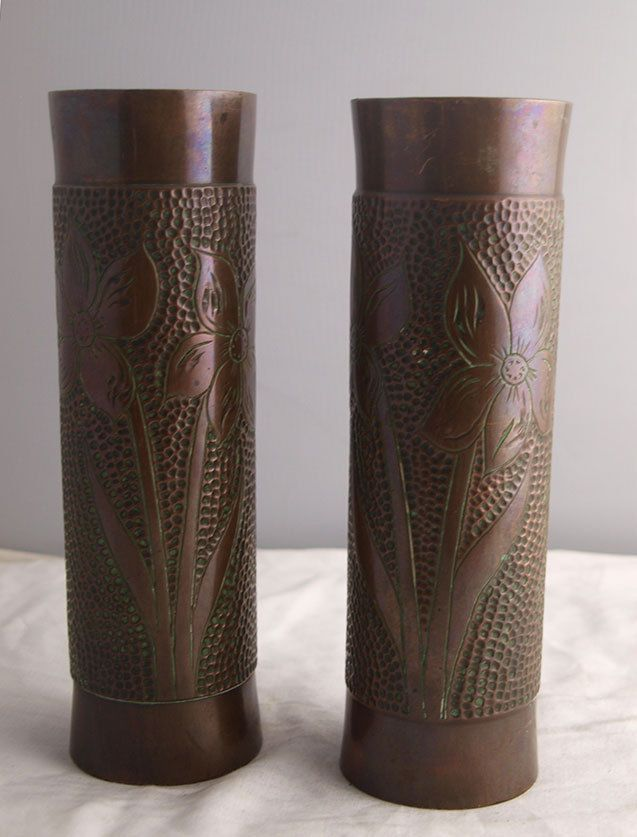 Pair of Bronze Vases - Trench Art