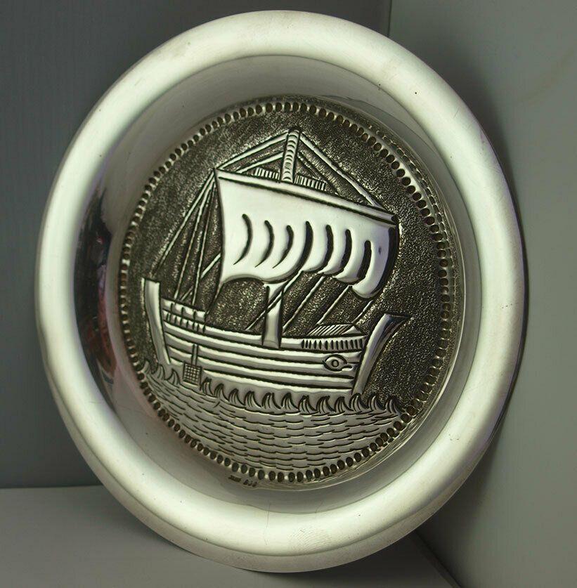 Norwegian Silver Viking Longboat Dish Or Plaque - 104g