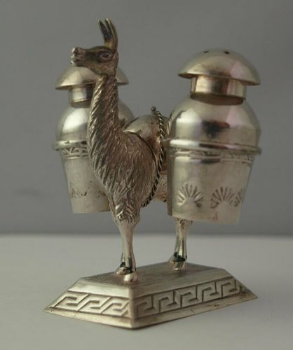 Novelty Small Silver Cruet Stand In The Form Of An Alpaca