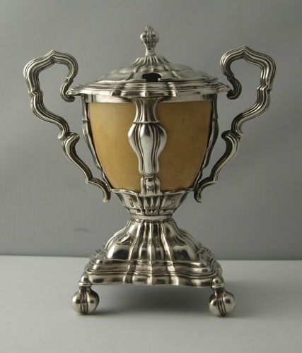 French Empire Style Silver And Ivory Mustard