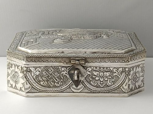 Large Chinese Silver Box - 386g
