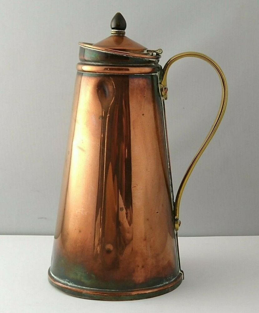 WAS Benson Arts & Crafts Copper & Brass Hot Water Jug C.1900.